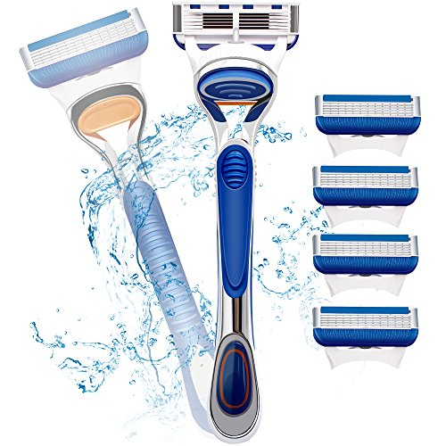 Mermaid Manual Men's Razor/shaver,Safety Anti-slip Razor+ Premium 4 Razor Blades Refill,Double Edge Safety Razors &5 layer elastic induction blades.