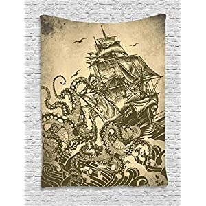 Ambesonne Nautical Decorations Collection, Sailor Ship Octopus Sepia Print, Bedroom Living Kids Girls Boys Room Dorm Accessories Wall Hanging Tapestry, Yellow Brown 96