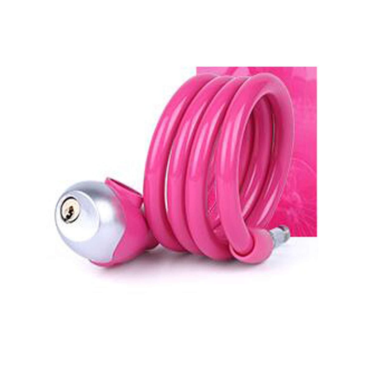8haowenju ノベルデザインロック - ケーブルロック 軽量 自転車チェーンロック サイズ: 46インチ (長さ) 0.44インチ (直径) (カラー: ピンク) B07QLJ9H7Z