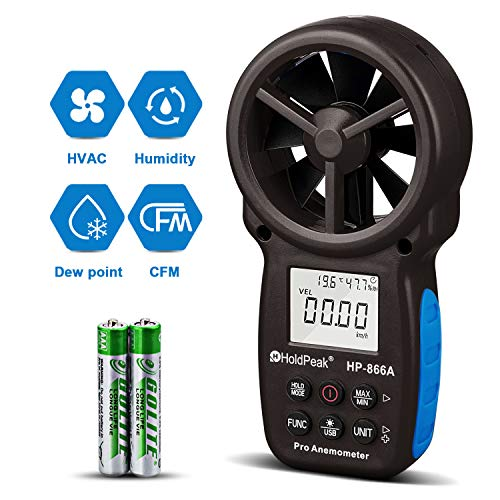 (HOLDPEAK 866A Digital Anemometer Handheld CFM Meter with USB Connect - Wind Speed Meter Measures Wind Speed + Temperature + Dew Point + Air Flow Meter with Data Hold & USB & Relative Humidity (Black))