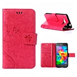 MOONCASE Galaxy Grand Prime Wallet Case Flower Pattern Premium PU Leather Case for Samsung Galaxy Grand Prime G530 Bookstyle Soft TPU [Shock Absorbent] Flip Bracket Cover Hotpink