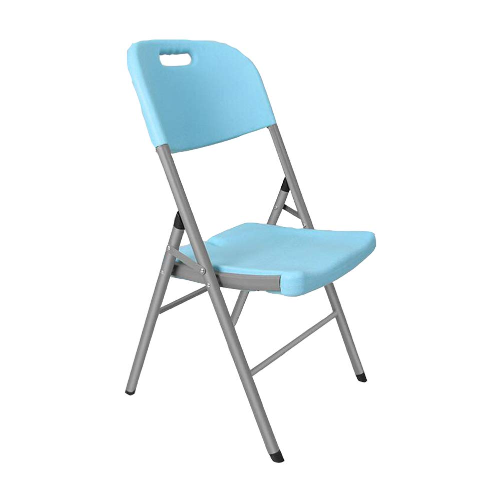 bluee Dall Folding Chair Backrest Computer Office Ining Chair Metal Frame Simple Modern (color   White)