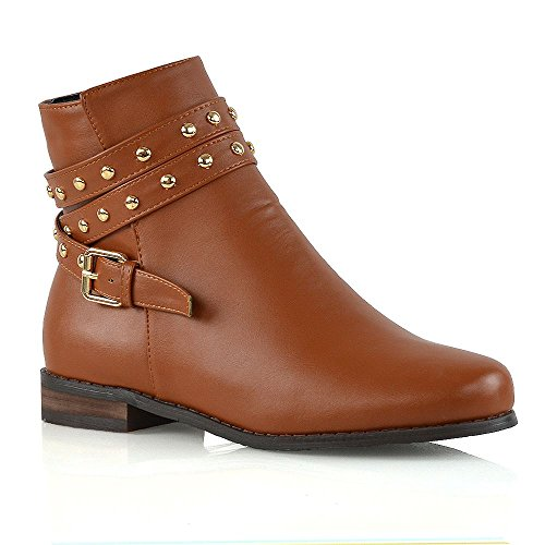 ESSEX GLAM Womens Ankle Boots Flat Studded Straps Zip Pixie Chelsea Booties Tan Synthetic Leather MHFIF8