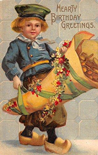 Hearty Birthday Greeting Dutch boy cornucopia antique pc Y12179