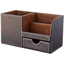 KINGFOM Wooden Struction Leather Multi-function Desk Stationery Organizer Storage Box Pen/Pencil ,Cell phone, Business Name Cards Remote Control Holder Colors (Brown-flannel)