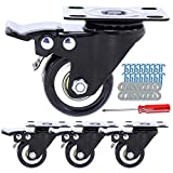 Small Plate Casters Aozel Swivel Top Plate Caster Wheels Polyurethane Foam No Noise Wheel with Safety Dual Locking Pack of 4 (with Brakes)
