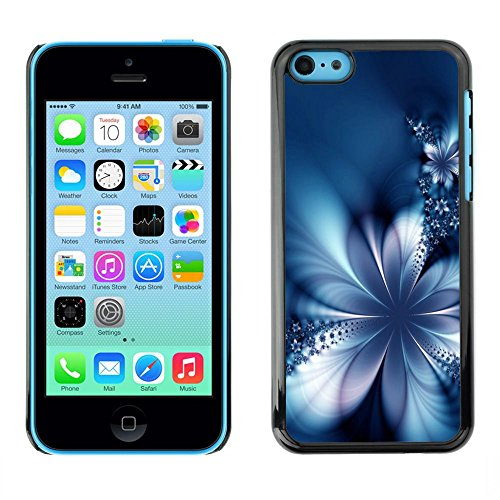 TopCaseStore / caoutchouc Hard Case Housse de protection la Peau - Floral Petal Ice Flowers Blurry Blue - Apple iPhone 5C