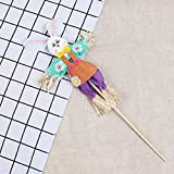Nesee Easter Bunny Theme Handheld Scarecrow Non Woven Fabric Straw Materials Toy Props Decorations Kit Toys for Kids (Purple)