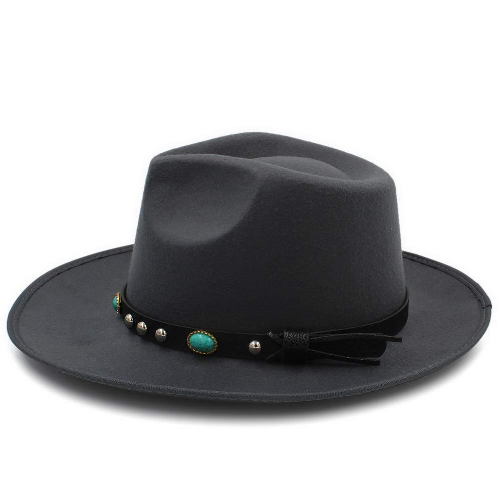 AILIN1 Für Erwachsene Herbst-Winter-Fedora-Hut mit Frauen breitkrempigen Metallband Filz Männer Panama Hut Vintage Caps Chapeau Damenschuhe Warmer Hut