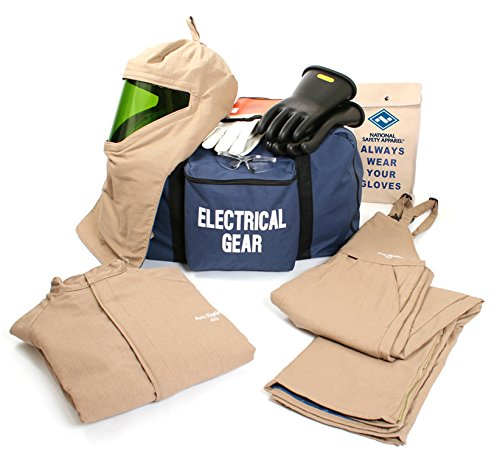 National Safety Apparel KIT4SCPR402X12 ArcGuard DuPont Protera Arc Flash Kit with Short Coat and Bib Overall, 40 Calorie, XX-Large/Glove Size 12, Khaki