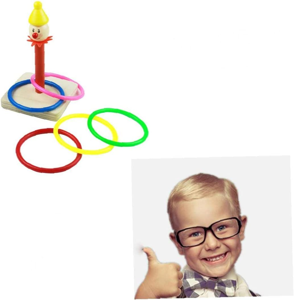 1 Set Clown Ferrule Ring Toss Game Wooden Throwing a Ring Toy with 5 Color Plastic Rings for Kids Adults Indoor or Outdoor Family Fun