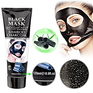 MOUSAND Bamboo Charcoal Remover Mask,Deeply Cleansing Peel Off Mask For Face Nose Acne,4.3oz Purifying Facial Black Mask