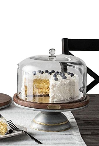 Magnolia Hearth Hand Cake Stand Glass Covered Wooden Farmhouse Kitchen Table Decor by Hearth and Hand (Image #1)