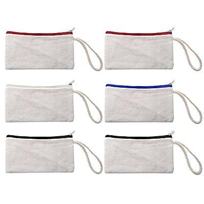 """Aspire 12-Pack 100% Cotton Canvas Zipper Pouches, Blank DIY Wristlet Purses, 7 3/4"""" x 4"""""""