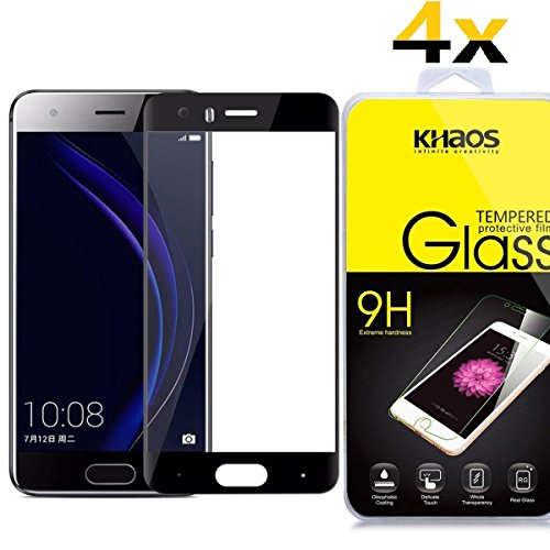 [4-Pack] Khaos for Huawei Honor 9 HD Clear Tempered Glass Screen Protector,3D Curved Edge Full Coverage with Lifetime Replacement Warranty -Black