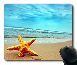 """Custom & Personalized Starfish On Sand Beach Mouse Pads/Mats-Picture Printed Rectangle/Oblong Mousepad in 7""""*9"""""""