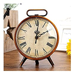 Vintage Retro Old Fashioned Decorative Quiet Non-ticking Sweep Second Hand, Quartz Analog Large Roman Numerals Desk Clock, Battery Operated,Bird