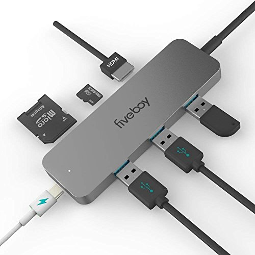 Fiveboy Premium USB C Hub Adapter, with 60W Power Delivery, 4K USB C to HDMI Output, MicroSD/SD Card Reader, 3 USB 3.0 Ports, for MacBook Pro, ChromeBook, XPS and More by Fiveboy (Image #1)