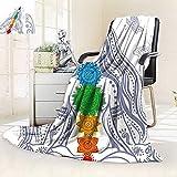vanfan All-Season Super Soft Blanket Spiritual Girl in Lotus Colorful Chakra Stones Yoga Meditation Relax Zen Theme,Silky Soft,Anti-Static,2 Ply Thick Blanket. (62''x60'')