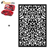 Toucan City Tool Kit (9-Piece) and Acurio Latticeworks 1/4 in. x 32 in. x 4 ft. Black Ginger Dove Vinyl Decor Panel 3248PVCBK-GNDV