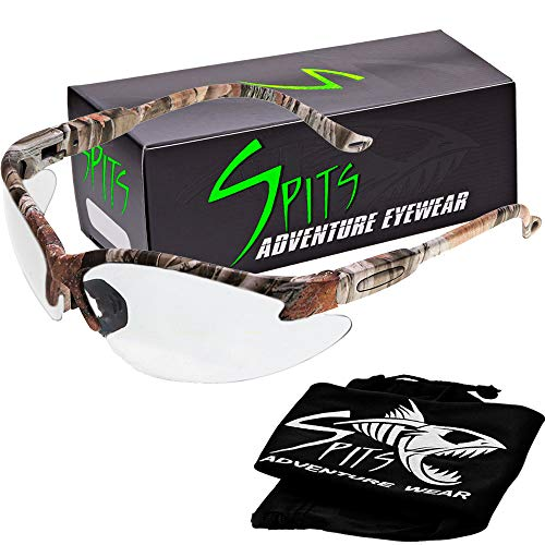 (Spits Eyewear Cougar Photochromatic Safety Glasses - Forest Camo Frame - Various Other Lens Options Available (Rose Anti-Fog))