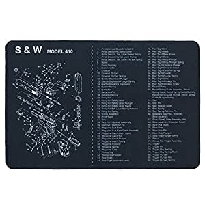 UsefulThingy S&W Gun Cleaning Mat - Pistol Handgun Revolver Maintenance - Exploded Diagram of Smith and Wesson - Size 17 x 11 inch Black