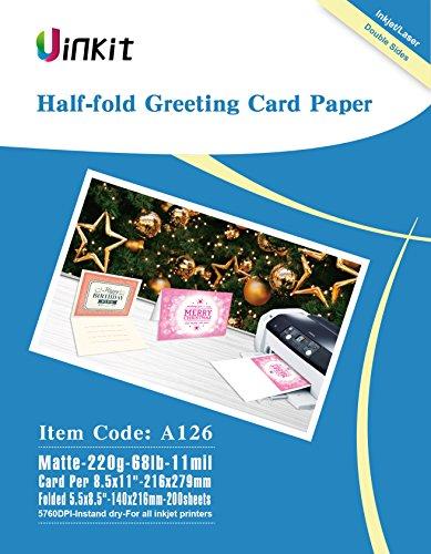 Matt Inkjet - Half Folding Greeting Card Paper - 200sheets 5.5x8.5 When Folded Double sides Matt Inkjet Paper Photo Paper