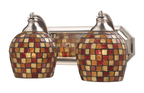 Elk 1 Light Vanity (Elk 570-2N-MLT 2-Light Vanity In Satin Nickel and Multi Mosaic Glass)