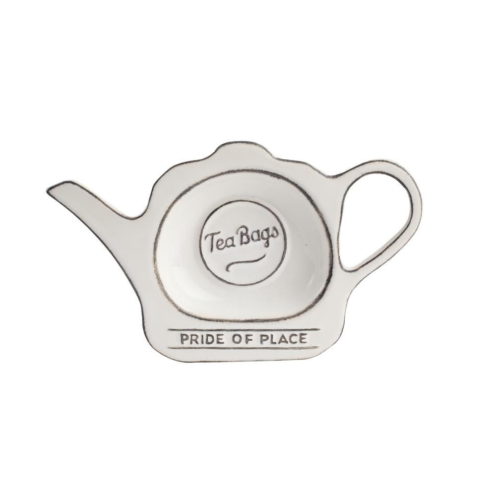 T&G Woodware Pride of Place British Tea Bag Tidy Coaster, White