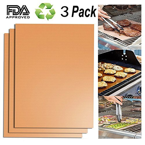 Dosens BBQ Grill Mat Set of 3, Non Stick Oven Liner Teflon Cooking Mats/Barbecue Sheets - Works on Gas, Oven, Charcoal and Electric Grills - Reusable, Durable, Heat Resistant Easy to Clean 15.75 inchx13 inch