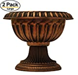 Unique 14'' Pot / Urn Rustic Look (2 Pack) ON SALE. Flower Seedlings Nursery with wide base Planter for Garden Patio Office Ornaments Home Decor Long Lasting Reusable Light Weight (Copper)