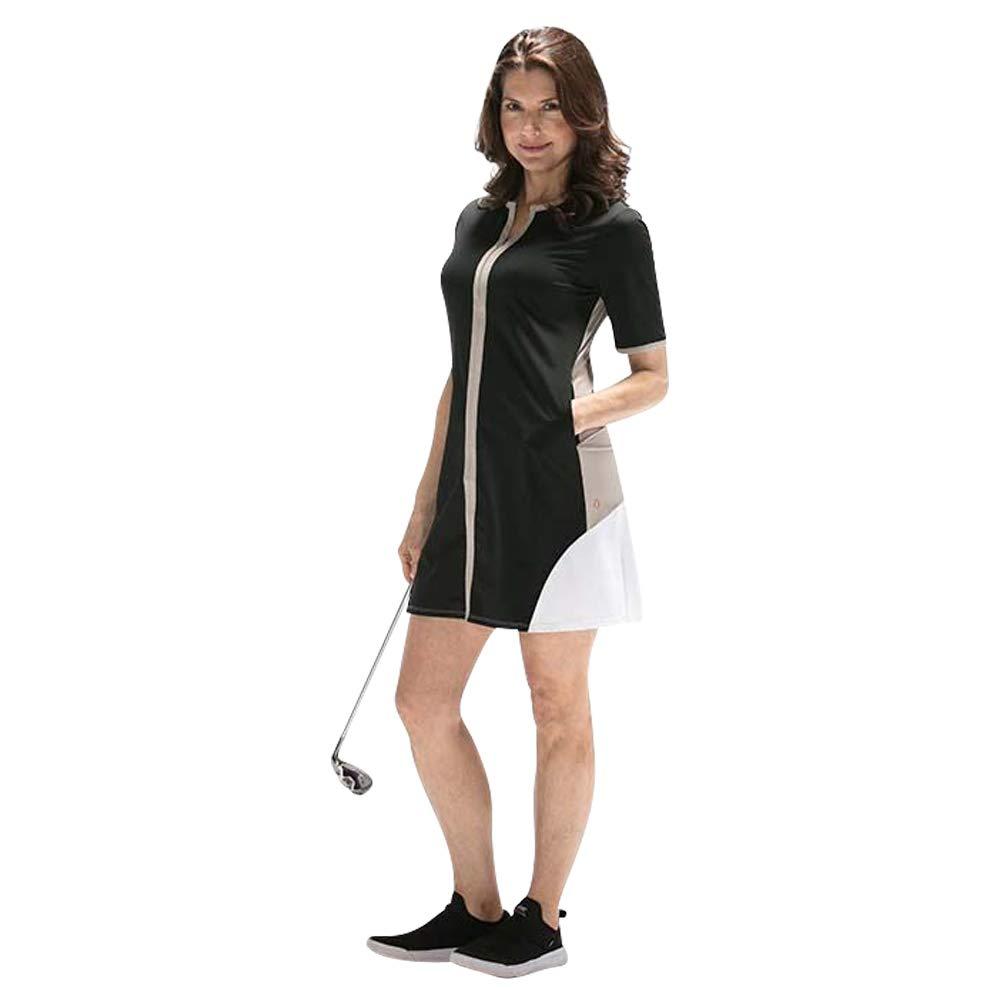 Day to Night Shortsleeve Womens Summer Golf Dress, Black, Medium