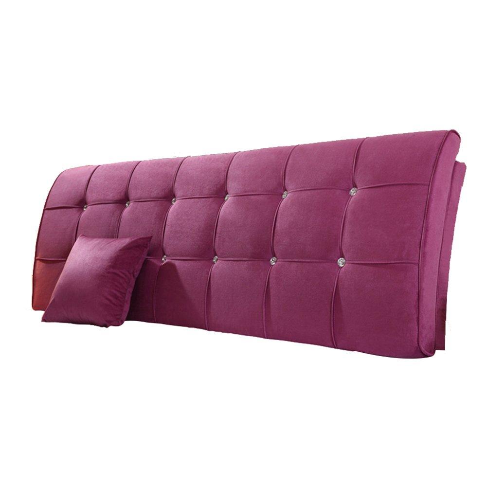 HAIPENG クッション ベッドの背もたれ 曲がった ベッド バックレスト クッション ヘッドボード 腰椎 パッド 布張り 枕 柔らかい カバー ベッドサイド ソファー ダブル リムーバブル ウォッシャブル、 5色、 マルチサイズ (色 : Violet, サイズ さいず : 190x9x62cm) B07DNWZDF9 190x9x62cm|Violet Violet 190x9x62cm