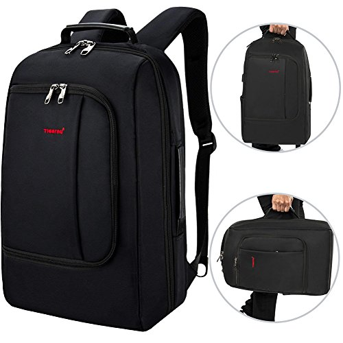 TIGERNU Slim Business Backpack with USB Charging Port Convertible Water Resistence Carry on Travel Bag with Luggage Strap Fits 15 15.6 Inch Laptops For Men Women Black by TIGERNU (Image #1)