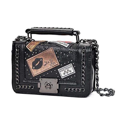 Vrouw zwarte Messenger Vintage Kettingen Bags tas pSUqxw0B