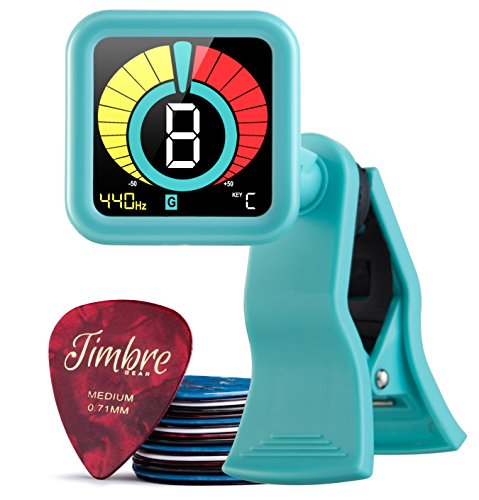 Medium Tuner - TimbreGear Chromatic Clip-On Tuner/Guitar Tuner For - Acoustic Guitar, Electric Guitar, Bass Guitar, Ukulele, Violin, Free Premium Picks Sampler 20 Pack In Thin, Medium & Heavy Gauges (Teal Tones)