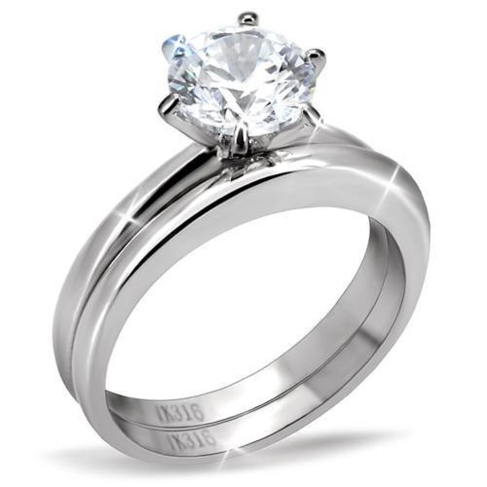 Vip Jewelry Co 1.50 Ct Round Cut AAA CZ Stainless Steel Wedding Ring Band Set Women's Size 5-10 (9)