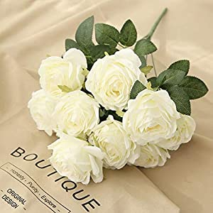 Jasion Artificial Roses Flowers 10 Heads Arrangement Silk Bouquet Glorious Moral for Home Office Parties and Wedding Decoration (White) 111