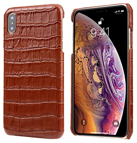 Crocodile Alligator Genuine Leather - iPhone Xs Max Leather Case, Reginn Slim Fit Phone Cover [Wireless Charging Compatible] Crocodile Pattern Genuine Leather Case for iPhone Xs Max (Brown)