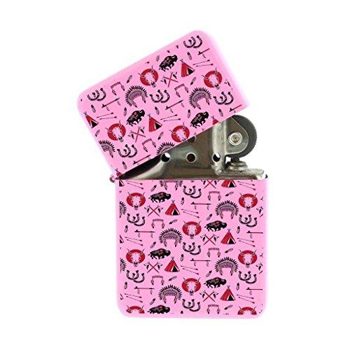 Pink Flip Top Refillable Windproof Lighter - American Indian Southwest Buffalo Pink Lighter