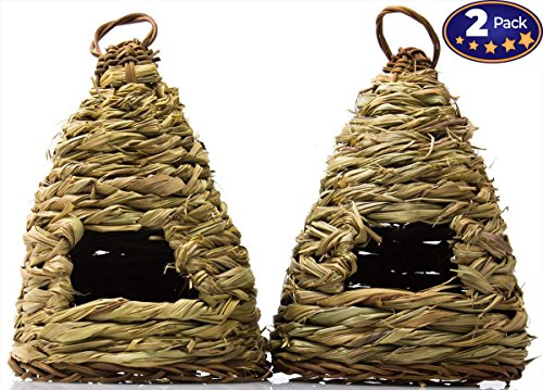(Woven Birdhouse 2 Pack: 10 Hive-Style. Ideal for Small Birds & Hummingbirds to Rest In. Bird Houses Are Made of Natural Fiber to Blend Into Your Garden. For Outside or Inside Decorative Use.)