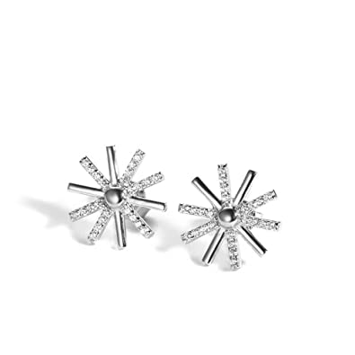 713b9b7dd KOREA-JIAEN Sun Flower Earrings S925 Sterling Silver Plated Base Cubic  Zircon Stud Earrings (