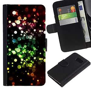 LASTONE PHONE CASE / Lujo Billetera de Cuero Caso del tirón Titular de la tarjeta Flip Carcasa Funda para Samsung Galaxy S6 SM-G920 / Glitter Bling Bling Dots Sparkle Wallpaper
