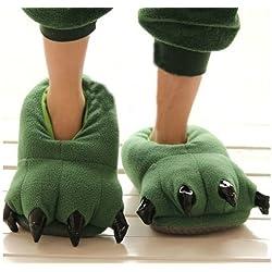 Thicken Verde garras de dinosaurio novedad Zapatillas Para Hombres Mujeres Invierno Cálido Zapatillas Tamaño de Navidad gifts-medium ideal