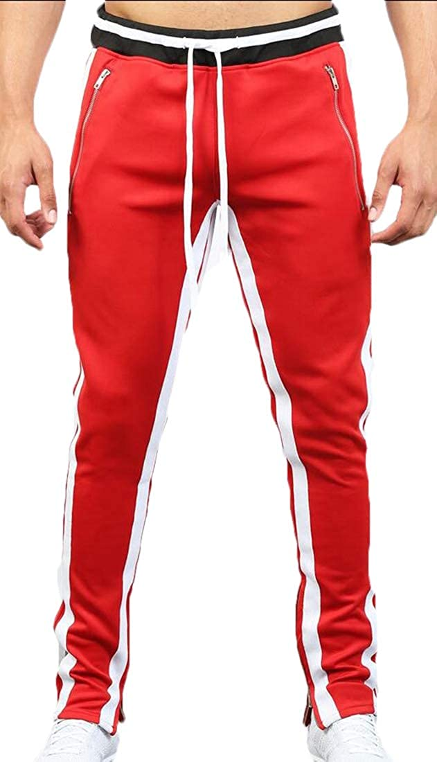 omniscient Mens Jogging Pants Color Block Slim Fit Sports Hip Hop Trousers Long Slacks Pants