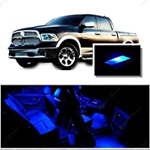 Ameritree Dodge Ram 1500 2500 3500 4500 5500 2009-2016 ( 7 Pcs ) Blue LED Lights Interior Package + Blue LED License Plate Kit