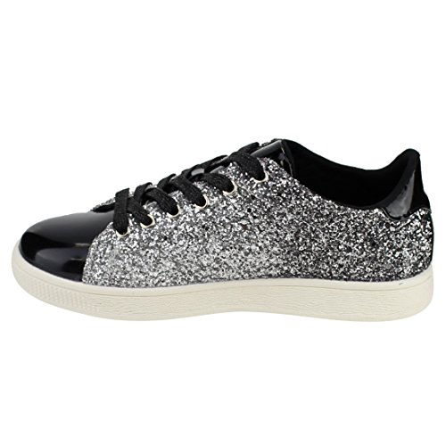 Moda Donna Glitter Leggero Metallizzato Trapuntato Trapuntato Lace Up Scarpa Stringata Bassa Top Elegante Sneaker (10, Glitter Nero-1)