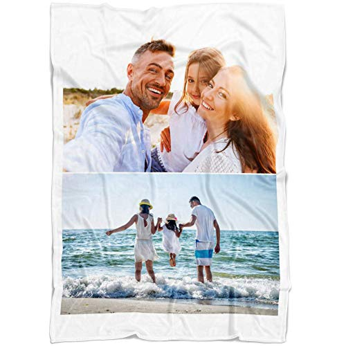 Color Photo Collage - Personalized Throw Blanket 2 Images Collage Full Color. Custom from Your Photos. Fleece Blanket Super Soft for Baby & Adult. Great Wedding Gifts (Fleece, 50'' x 60'')