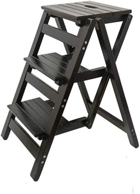 ANXWA Escaleras Multifunción Multiusos Taburetes con Peldaños Escalera Plegable De Madera Maciza Taburete con Escalones Banco Escalera Pequeña Escalera De Madera con Peldaños,Black: Amazon.es: Hogar