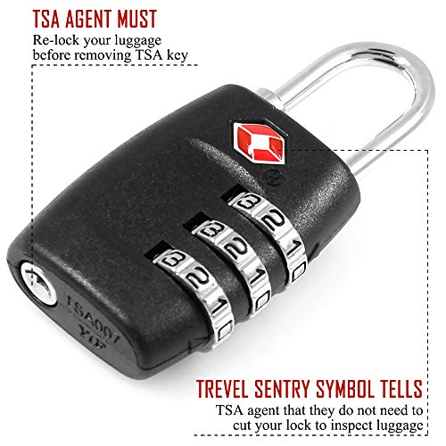 DanziX TSA Approved Lock and 4 Colors Stainless Steel Safety Tether,3-Dial Combination Travel Luggage Lock with Lanyard Security Cable for Protect your Different Sizes of Bags,Suitcase,Baggage by DanziX (Image #8)